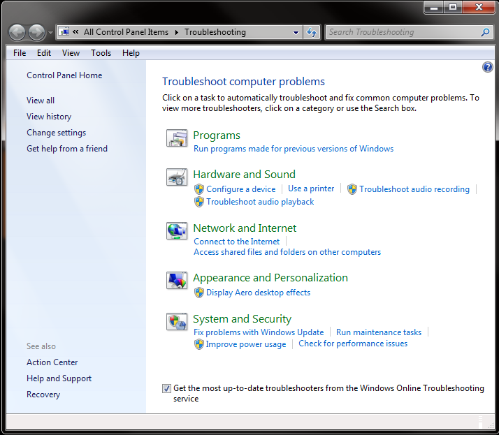 Screenshot: Troubleshooting Control Panel