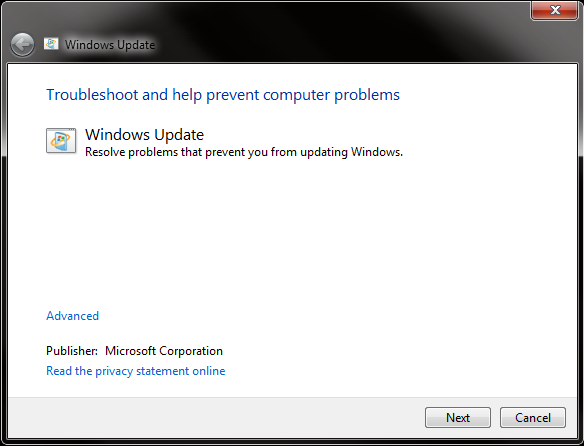 Screenshot: Windows Update Troubleshooter