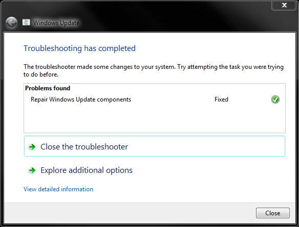 Screenshot: Windows Update Troubleshooter Completed