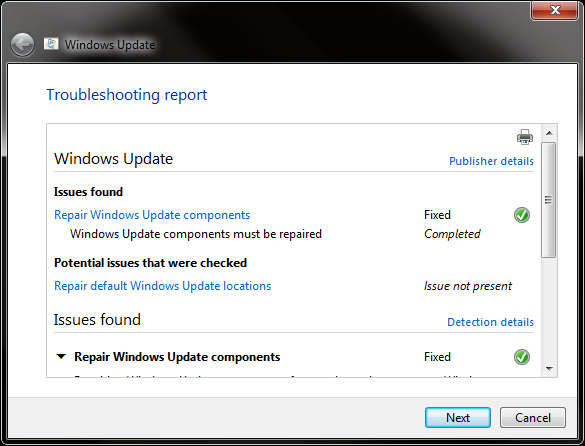 Screenshot: Windows Update Troubleshooting Report